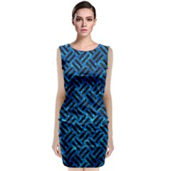 Woven2 Black Marble & Deep Blue Water (r) Classic Sleeveless Midi Dress