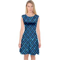 Woven2 Black Marble & Deep Blue Water (r) Capsleeve Midi Dress