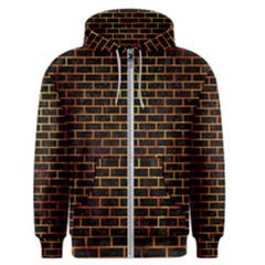 Brick1 Black Marble & Fire Men s Zipper Hoodie