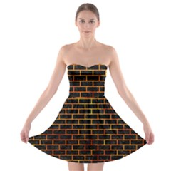 Brick1 Black Marble & Fire Strapless Bra Top Dress