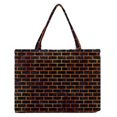 Brick1 Black Marble & Fire Zipper Medium Tote Bag