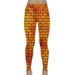 Brick1 Black Marble & Fire (r) Classic Yoga Leggings