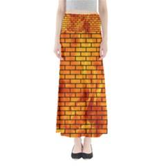 Brick1 Black Marble & Fire (r) Full Length Maxi Skirt