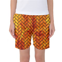 Brick2 Black Marble & Fire (r) Women s Basketball Shorts