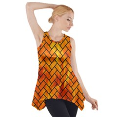 Brick2 Black Marble & Fire (r) Side Drop Tank Tunic