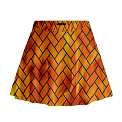 Brick2 Black Marble & Fire (r) Mini Flare Skirt