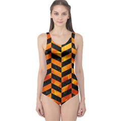 Chevron1 Black Marble & Fire One Piece Swimsuit