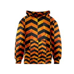 Chevron2 Black Marble & Fire Kids  Pullover Hoodie
