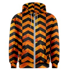 Chevron2 Black Marble & Fire Men s Zipper Hoodie