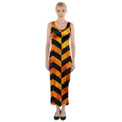 Chevron2 Black Marble & Fire Fitted Maxi Dress