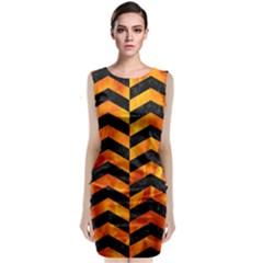Chevron2 Black Marble & Fire Classic Sleeveless Midi Dress