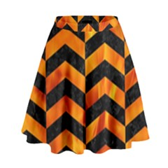 Chevron2 Black Marble & Fire High Waist Skirt