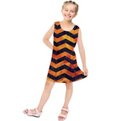 Chevron3 Black Marble & Fire Kids  Tunic Dress