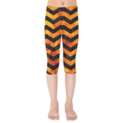 Chevron3 Black Marble & Fire Kids  Capri Leggings