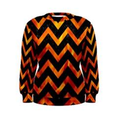 Chevron9 Black Marble & Fire Women s Sweatshirt