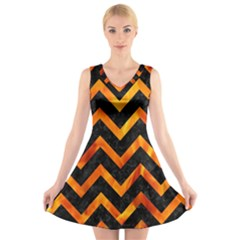 Chevron9 Black Marble & Fire V Neck Sleeveless Skater Dress