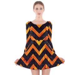 Chevron9 Black Marble & Fire Long Sleeve Velvet Skater Dress