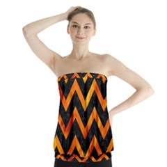 Chevron9 Black Marble & Fire Strapless Top