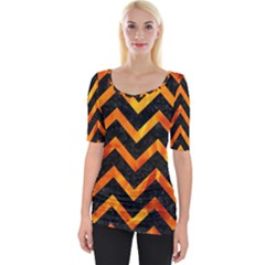 Chevron9 Black Marble & Fire Wide Neckline Tee
