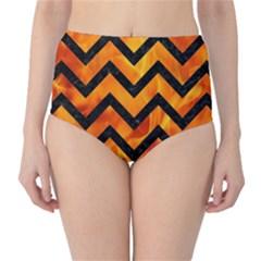 Chevron9 Black Marble & Fire (r) High Waist Bikini Bottoms