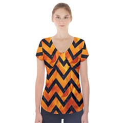 Chevron9 Black Marble & Fire (r) Short Sleeve Front Detail Top