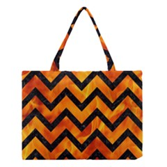 Chevron9 Black Marble & Fire (r) Medium Tote Bag