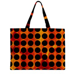 Circles1 Black Marble & Fire (r) Zipper Mini Tote Bag