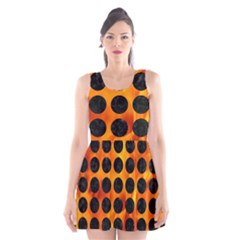 Circles1 Black Marble & Fire (r) Scoop Neck Skater Dress