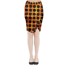 Circles1 Black Marble & Fire (r) Midi Wrap Pencil Skirt