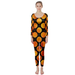 Circles2 Black Marble & Fire Long Sleeve Catsuit