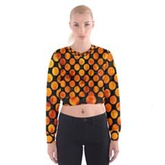 Circles2 Black Marble & Fire Cropped Sweatshirt