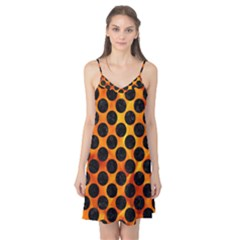 Circles2 Black Marble & Fire (r) Camis Nightgown