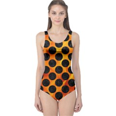 Circles2 Black Marble & Fire (r) One Piece Swimsuit