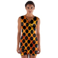 Circles2 Black Marble & Fire (r) Wrap Front Bodycon Dress