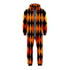 Diamond1 Black Marble & Fire Hooded Jumpsuit (kids)