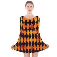 Diamond1 Black Marble & Fire Long Sleeve Velvet Skater Dress