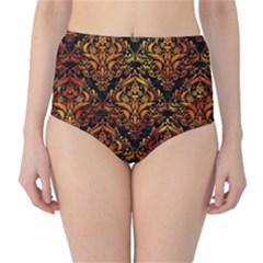 Damask1 Black Marble & Fire High Waist Bikini Bottoms