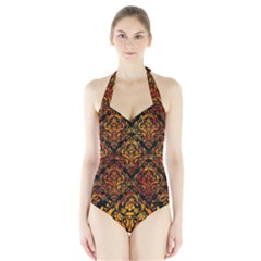 Damask1 Black Marble & Fire Halter Swimsuit