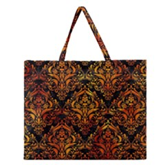 Damask1 Black Marble & Fire Zipper Large Tote Bag