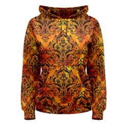 Damask1 Black Marble & Fire (r) Women s Pullover Hoodie