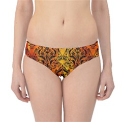 Damask1 Black Marble & Fire (r) Hipster Bikini Bottoms