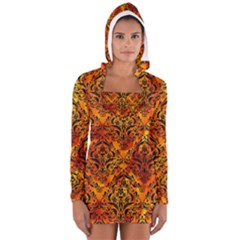 Damask1 Black Marble & Fire (r) Long Sleeve Hooded T Shirt