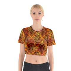 Damask1 Black Marble & Fire (r) Cotton Crop Top