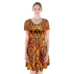 Damask1 Black Marble & Fire (r) Short Sleeve V Neck Flare Dress