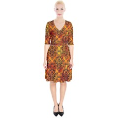 Damask1 Black Marble & Fire (r) Wrap Up Cocktail Dress