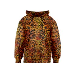 Damask2 Black Marble & Fire Kids  Pullover Hoodie
