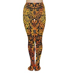 Damask2 Black Marble & Fire Women s Tights
