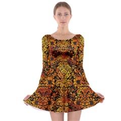 Damask2 Black Marble & Fire Long Sleeve Skater Dress