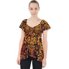Damask2 Black Marble & Fire Lace Front Dolly Top