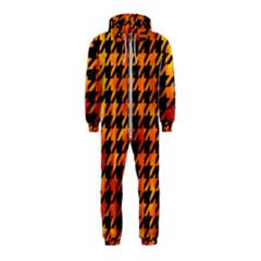 Houndstooth1 Black Marble & Fire Hooded Jumpsuit (kids)